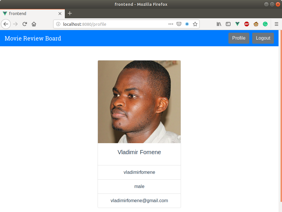 Movie Review Board web application localhost user profile page