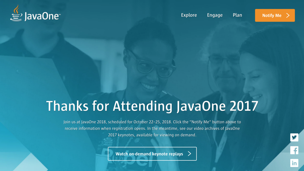 Java One conference website screenshot
