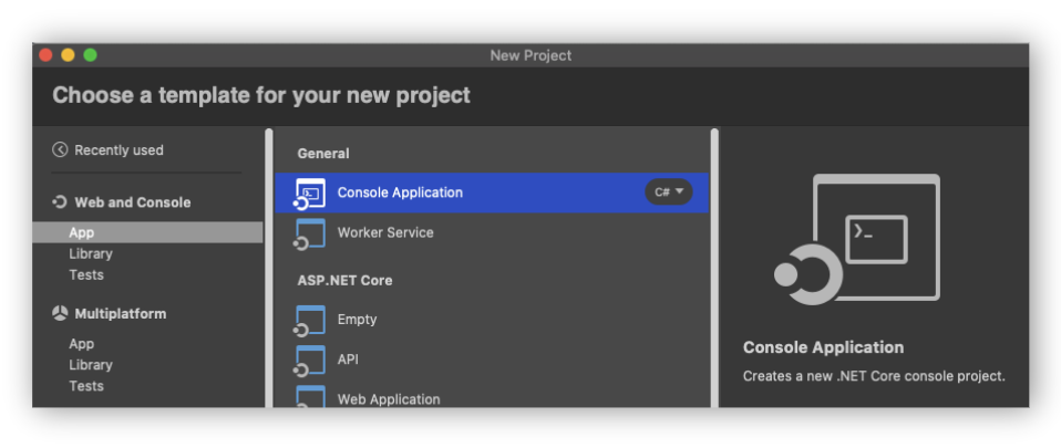 Create Console App in Visual Studio for Mac