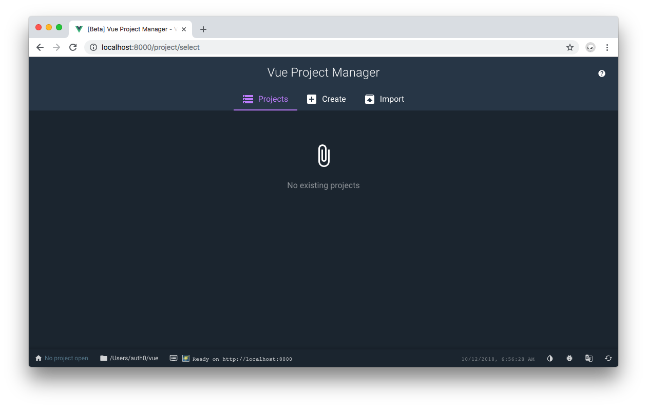 Vue Project Manager using dark mode