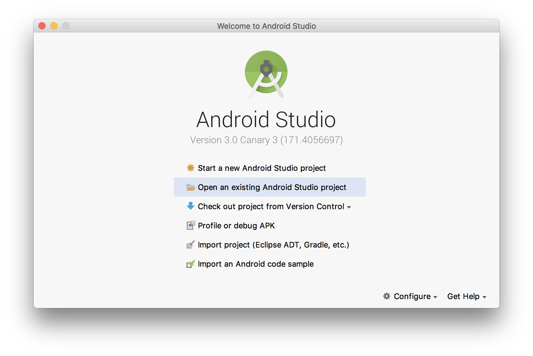 Open an existing Android Studio project