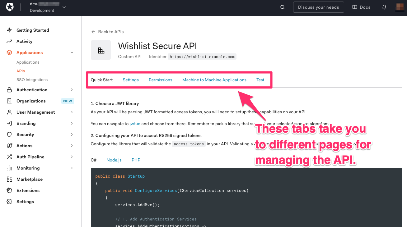 """The page for the newly-registered API. An arrow points to the page's tabs, and it says """"These tabs take you to different pages for managing the API."""""""