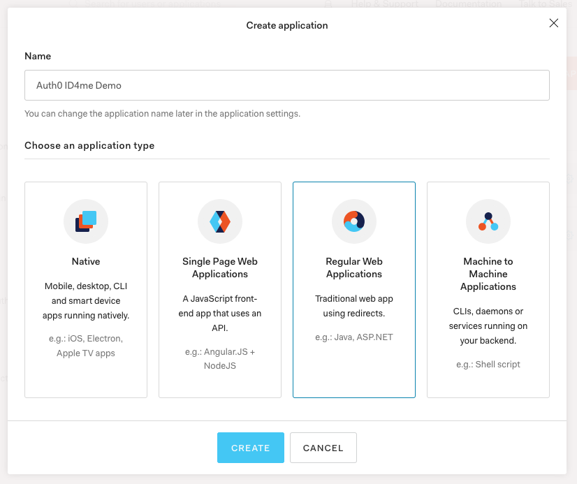 Auth0 application type