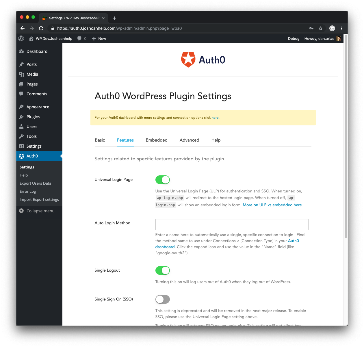Auth0 WordPress Plugin Settings