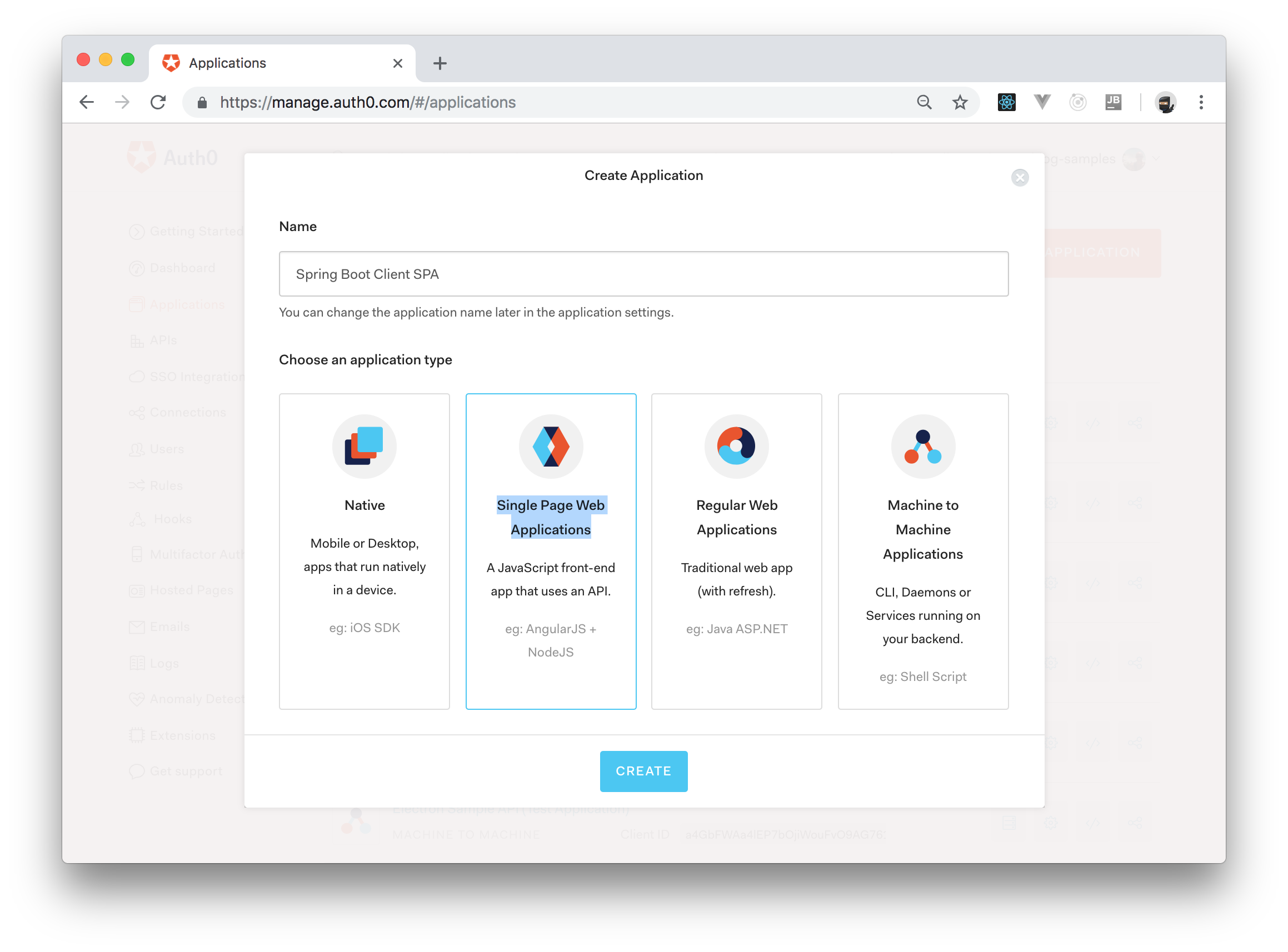 Creating an Auth0 Application in Dashboard