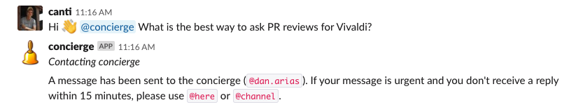 Asking a question to Slack bot concierge