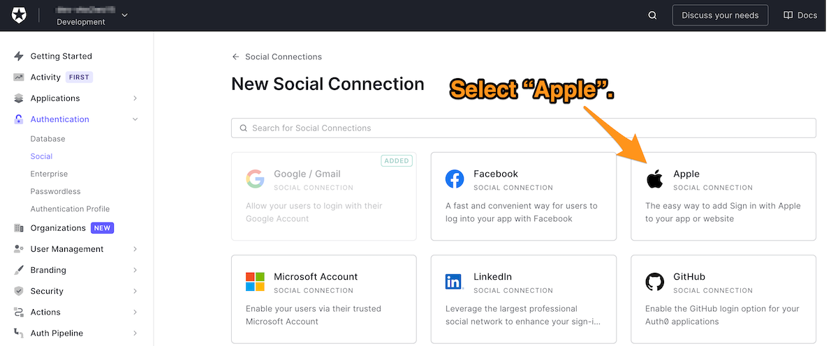 Selecting Apple from all the available social connections