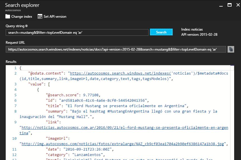 Azure Search Explorer on the Azure Portal