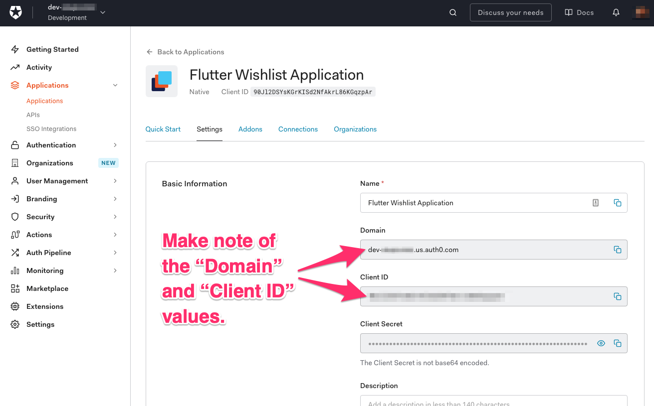 """""""Flutter Wishlist Application"""" """"Settings"""" tab. Arrows point to the """"Domain"""" and """"Client ID"""" fields, and they say """"Make note of the 'Domain' and 'Client ID' values."""""""