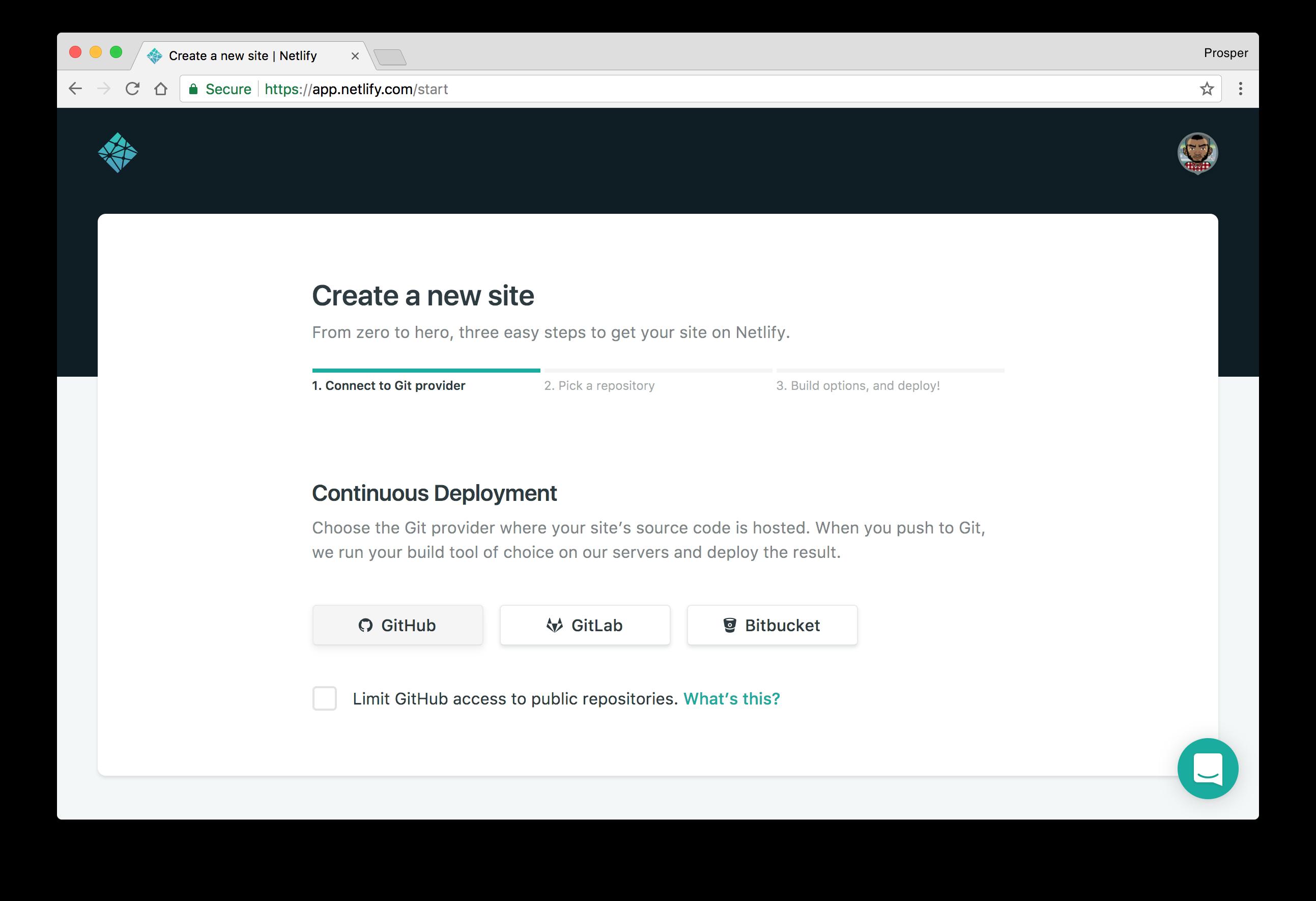 Choose GitHub