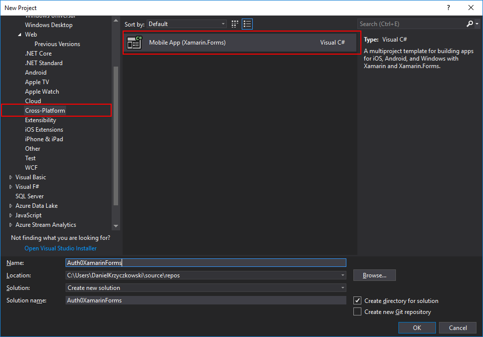 Xamarin Forms Project Template