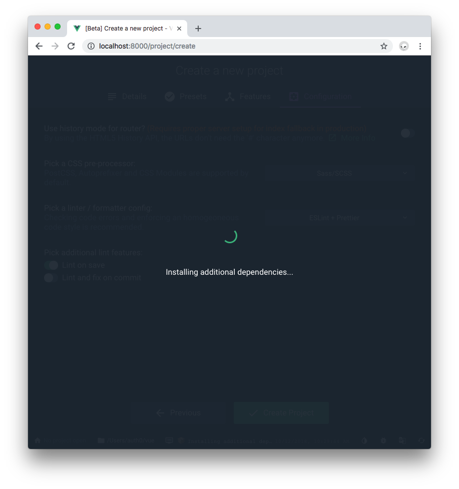 Vue Project Manager Create installing dependencies