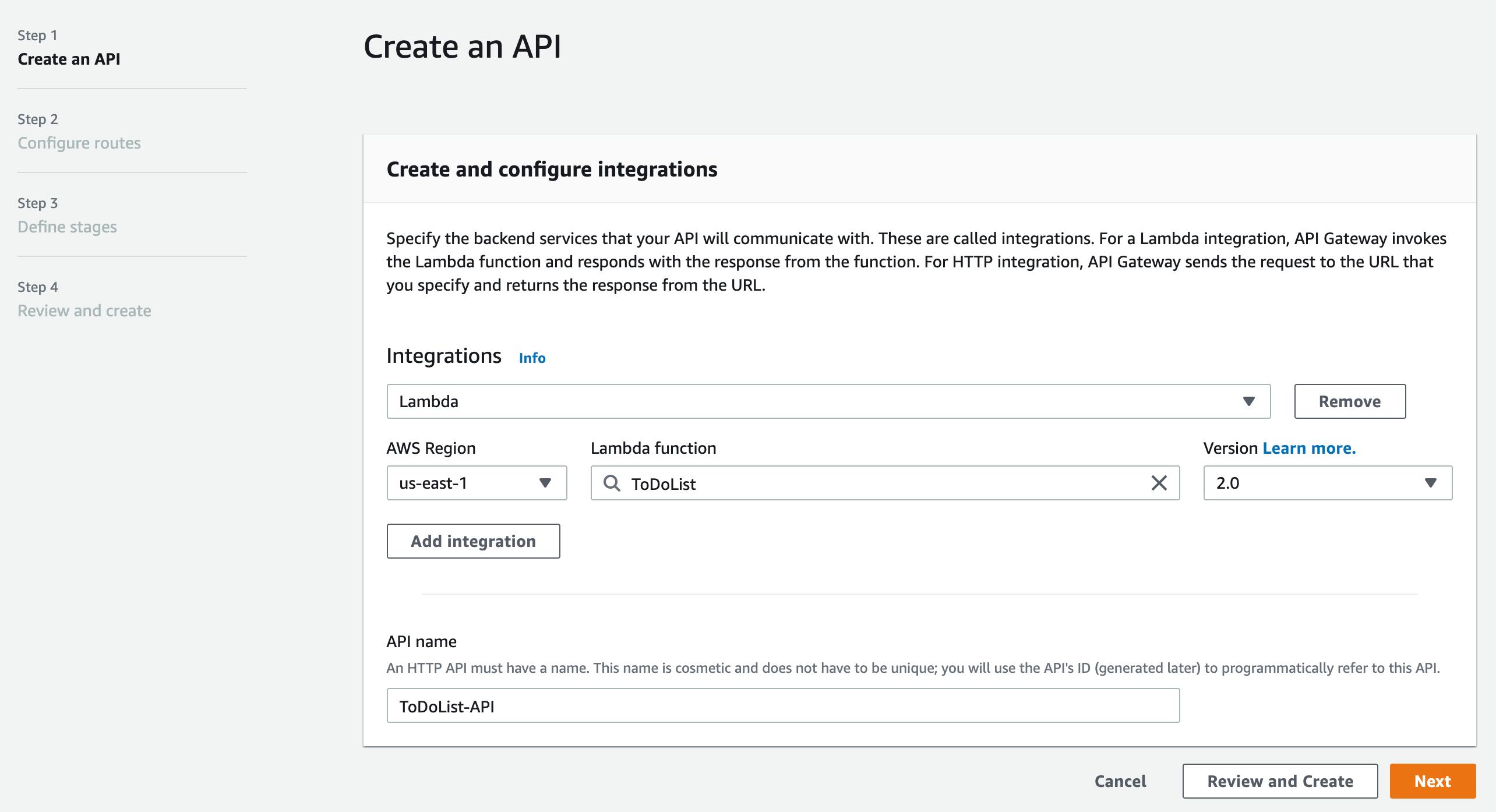 API Gateway - Step 1