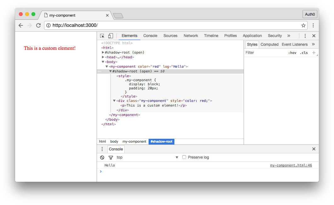 modern js glossary: custom web component in Chrome inspector