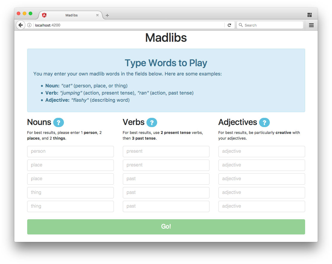 Angular RxJS speech not supported Madlibs app