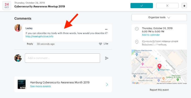 Meetup Fake Account Sample