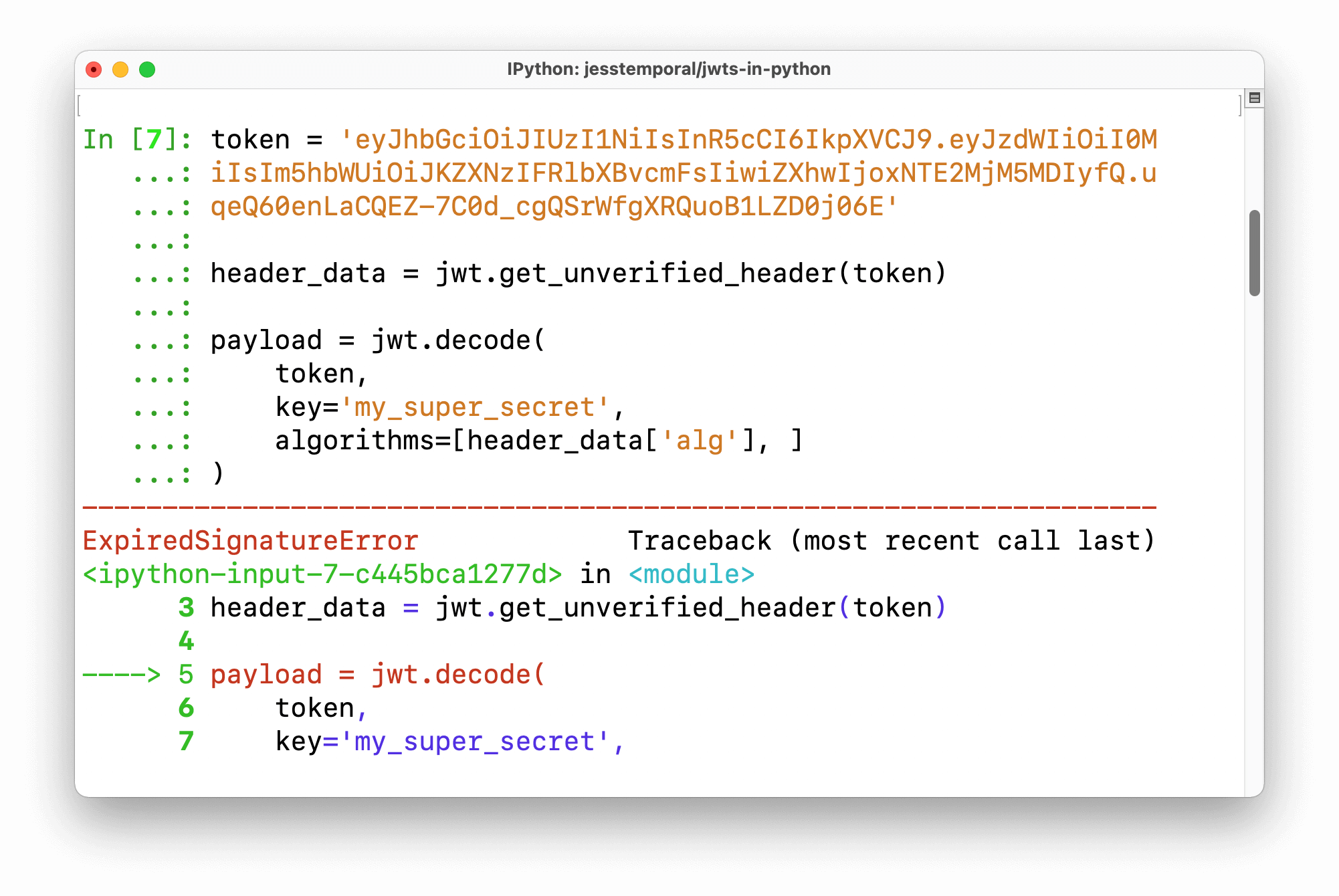Screenshot of the error ExpiredSignatureError when trying to validate an expired token