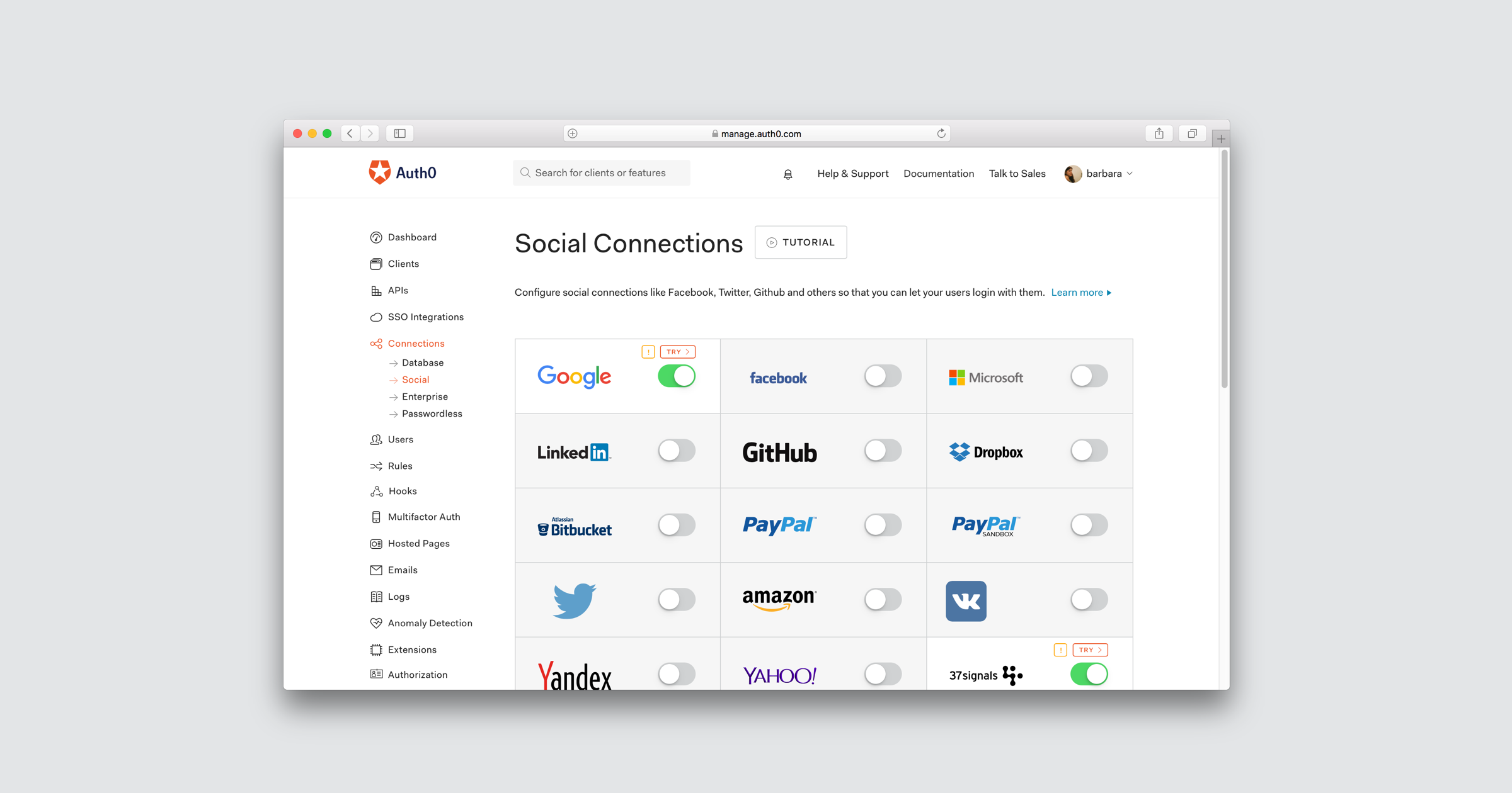 Auth0 social login integrations