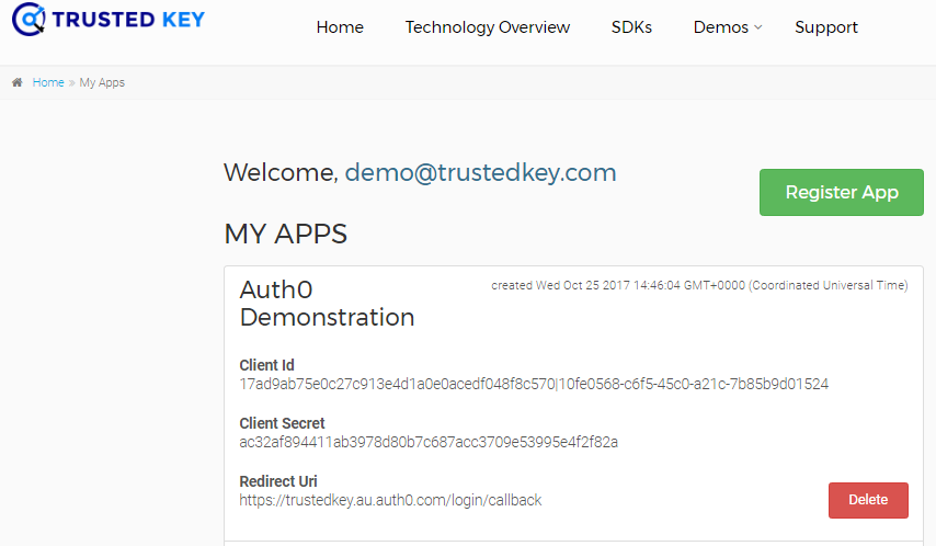 Trusted key app configuration with Auth0