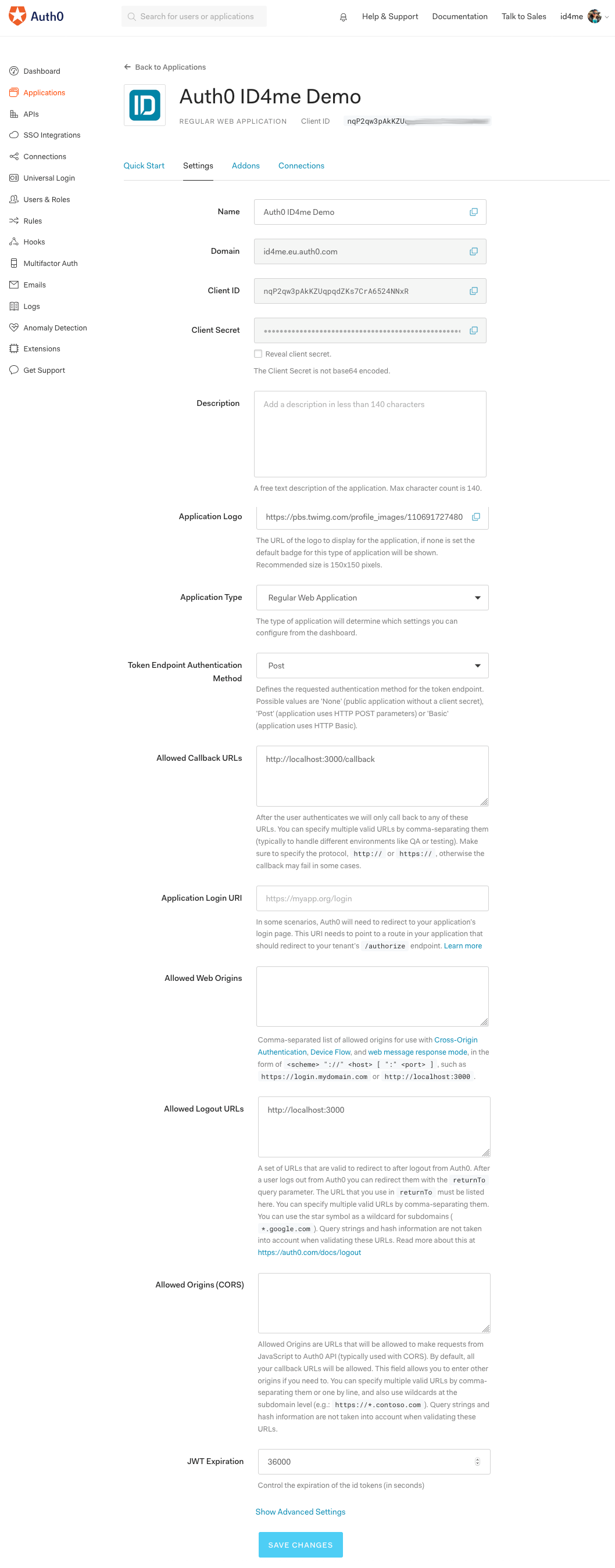 Auth0 application settings