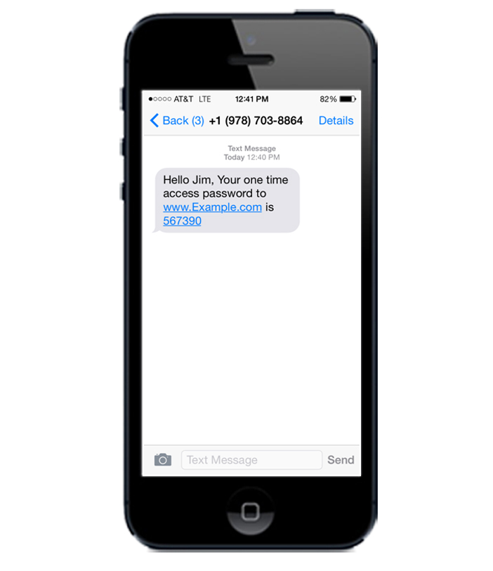 Text messaging SMS showing two-factor authentication 2FA code