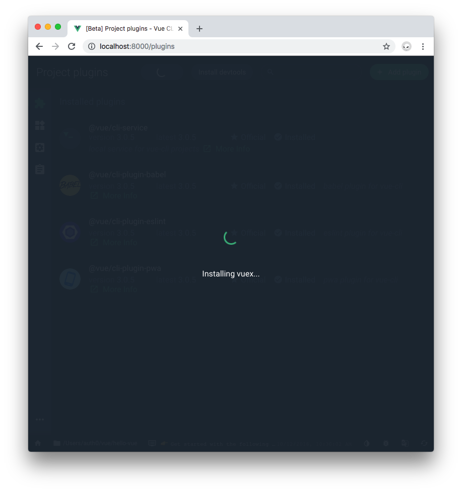 Vue Project Manager Projects plugins installing Vuex