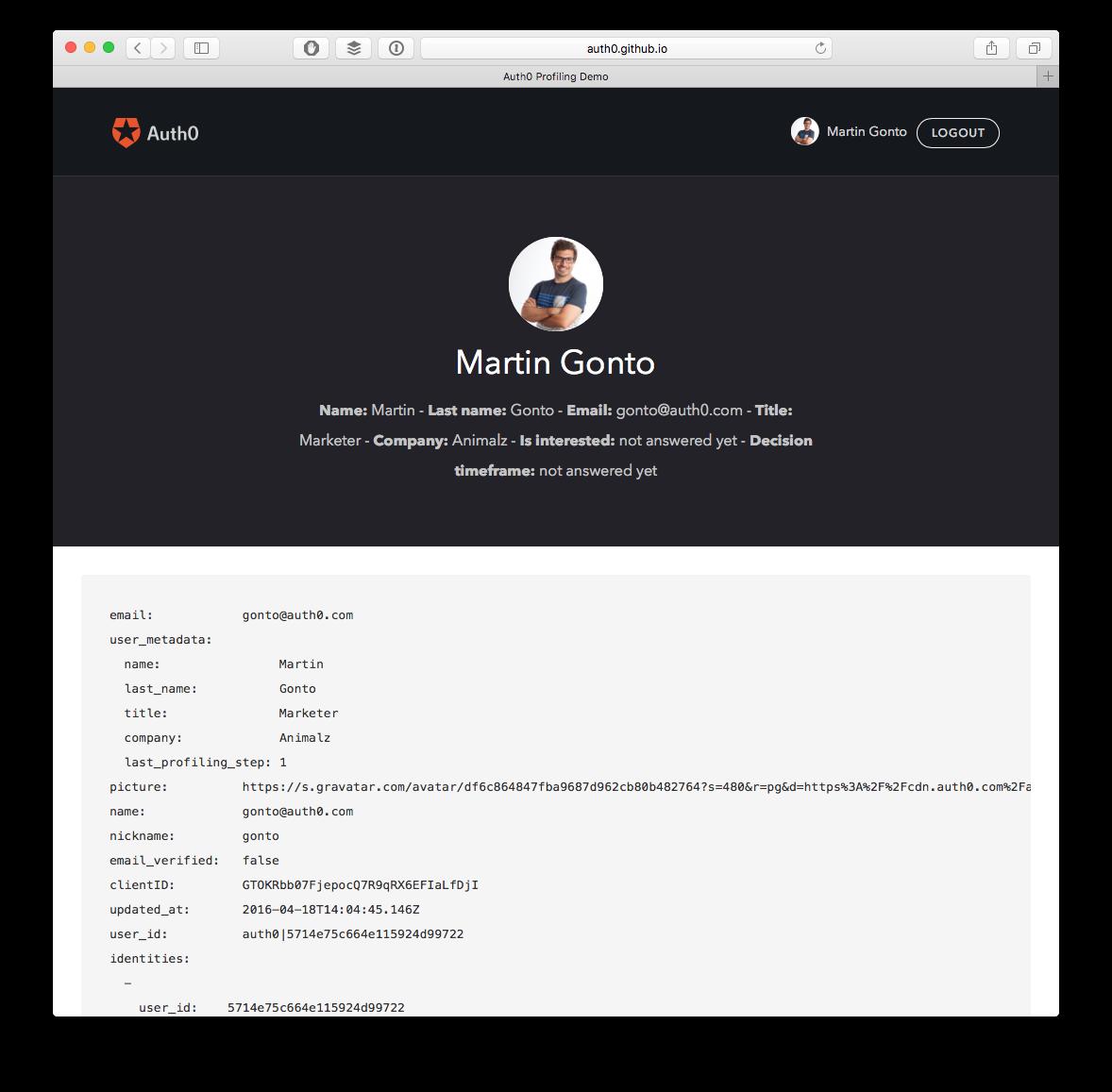 progressive profiling user-metadata