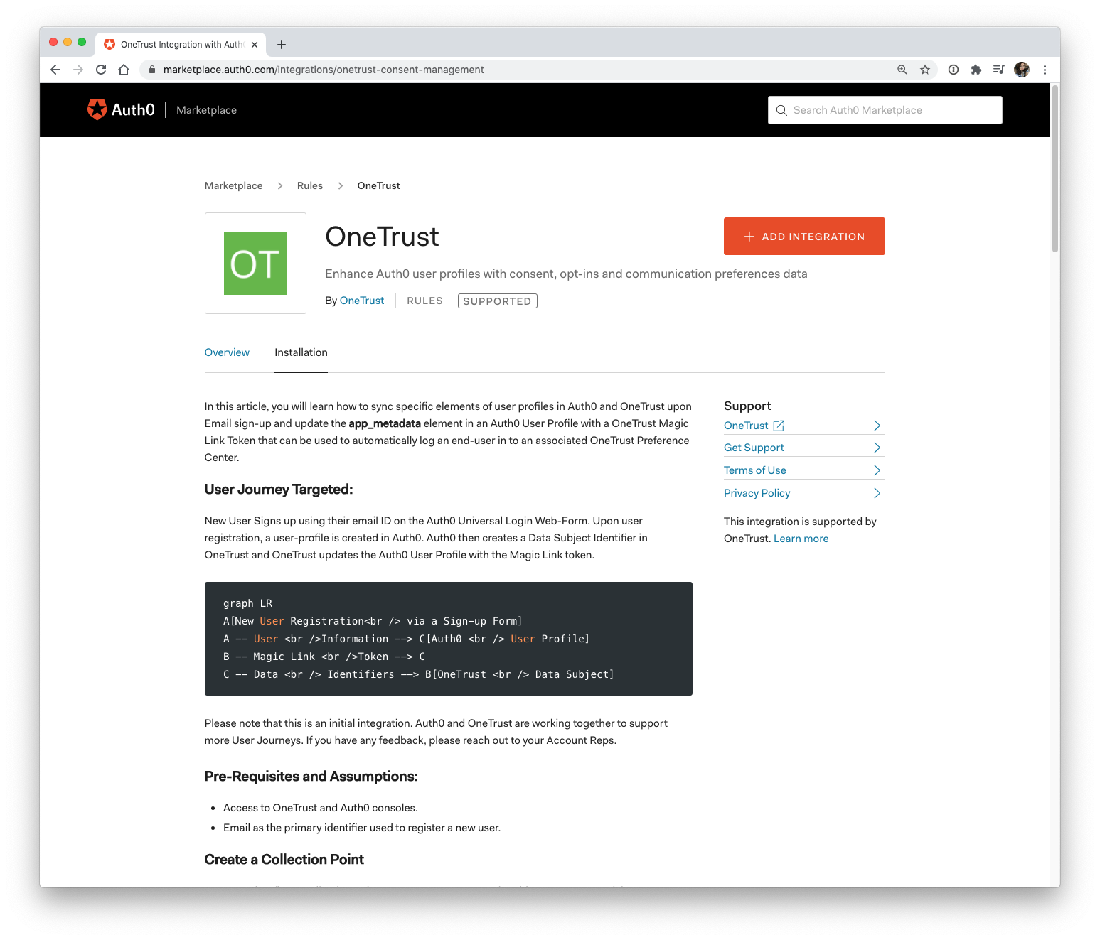 OneTrust Auth0 Marketplace integration