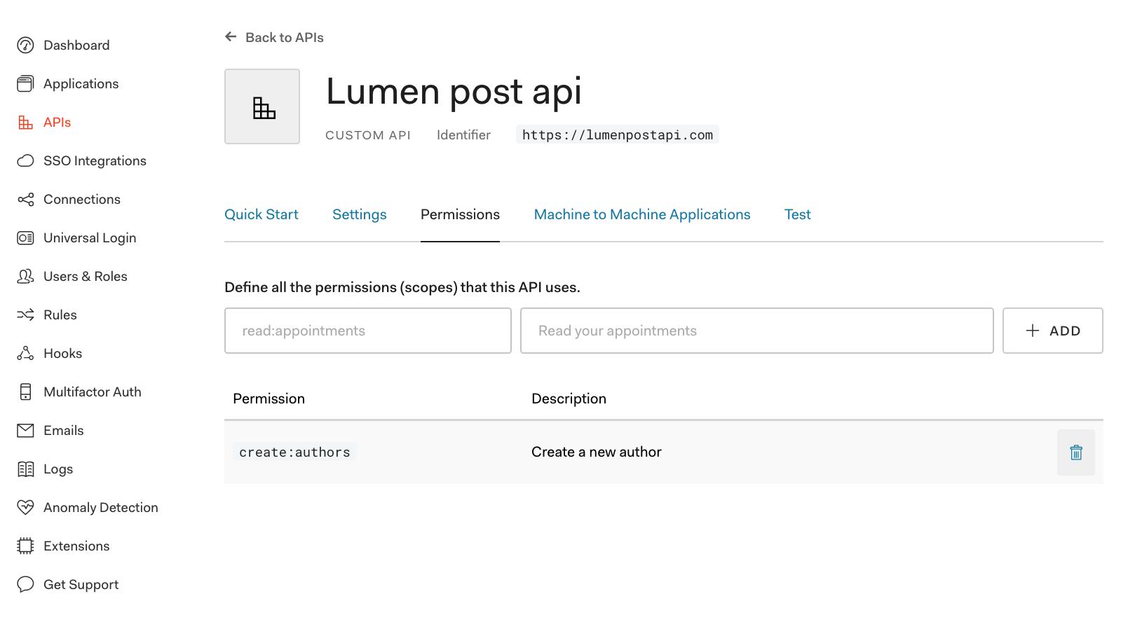 Auth0 API permissions dashboard