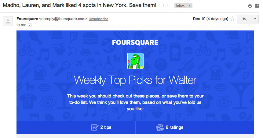 Foursquare personalized email