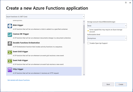 Create a new Azure Functions application in Visual Studio