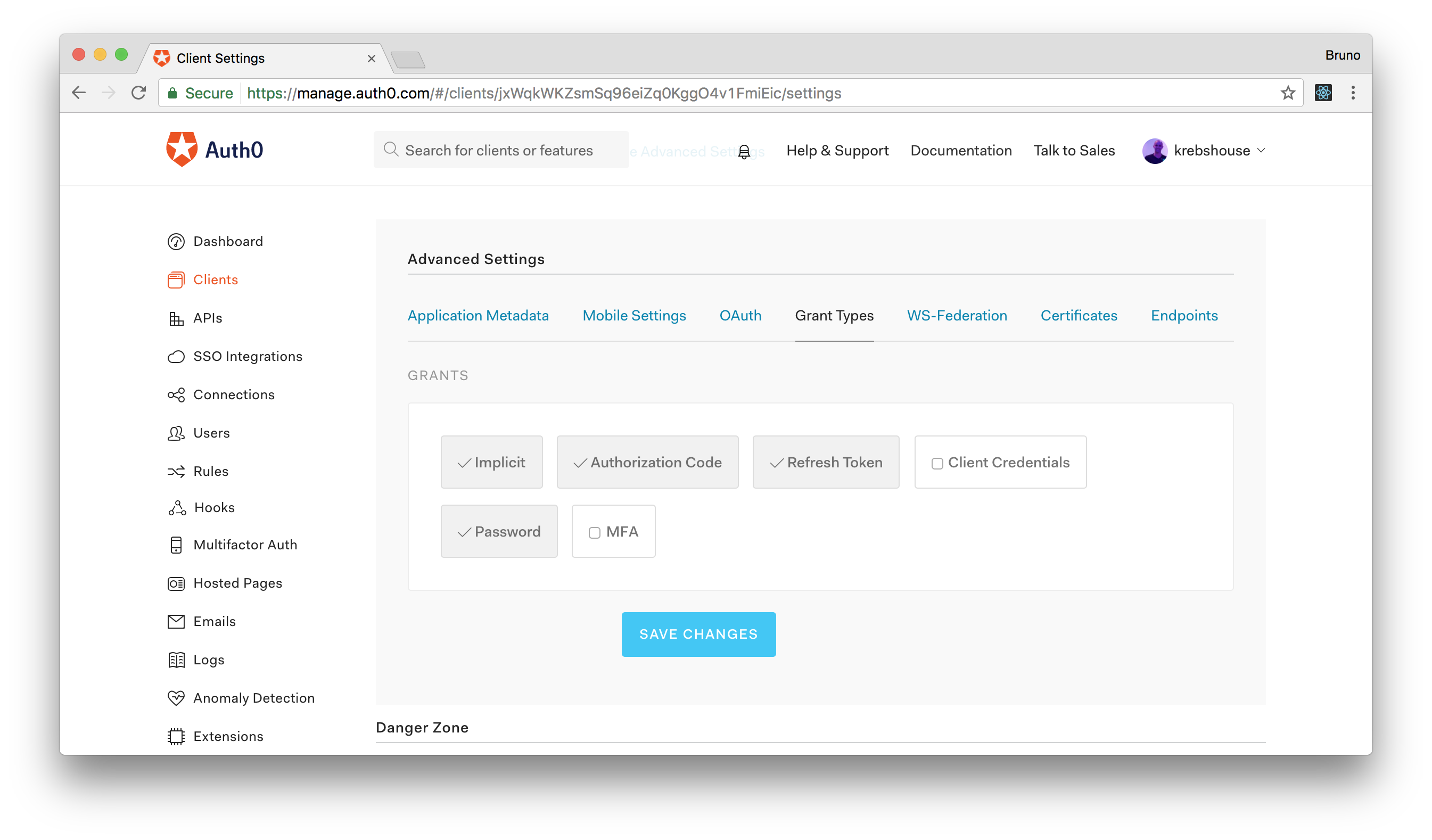 Enabling password grant on an Auth0 Client