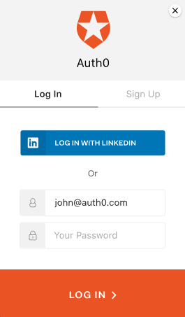 Example Auth0 login screen - SSO in background