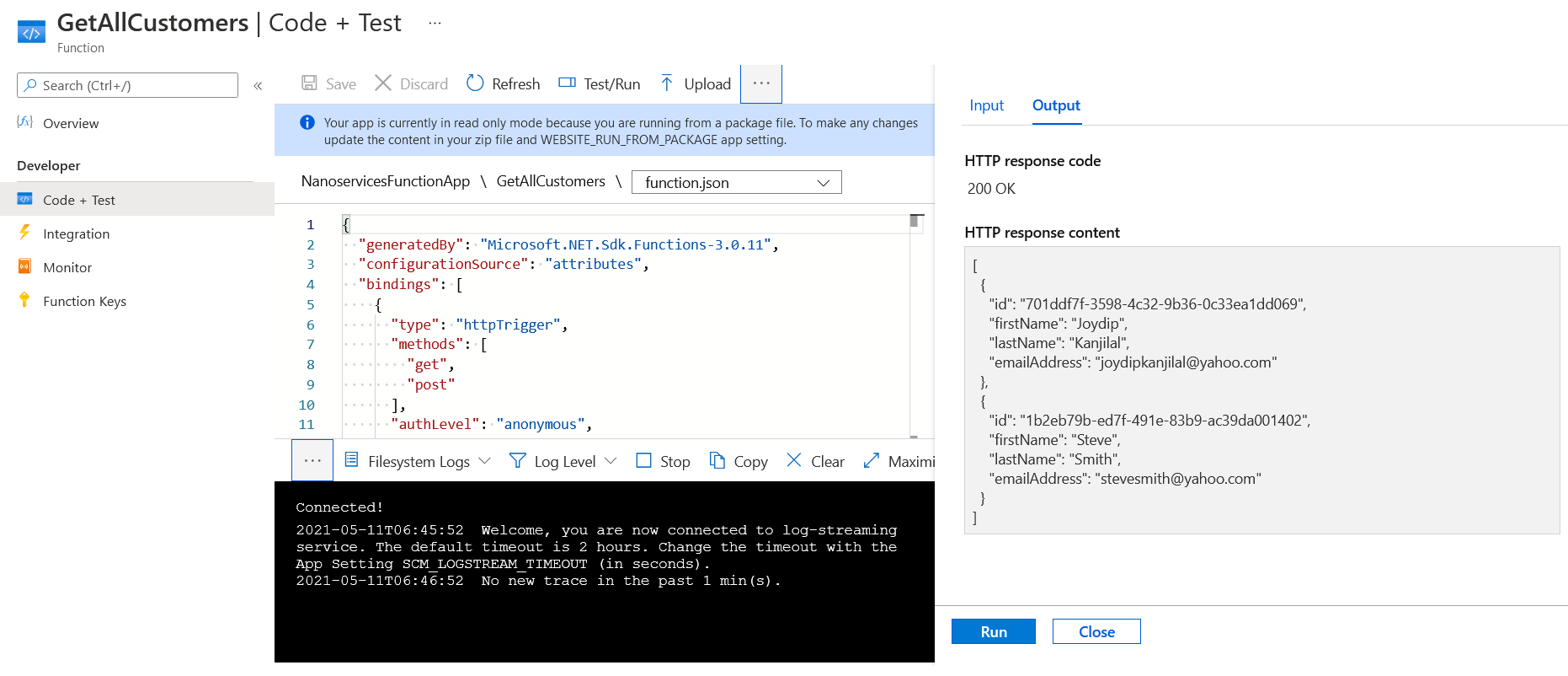 Testing the Azure Function