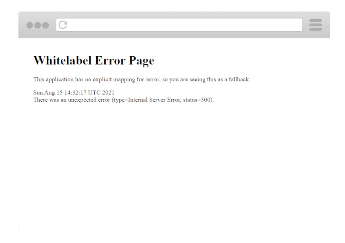 The Spring Boot Whitelabel HTML Error Page