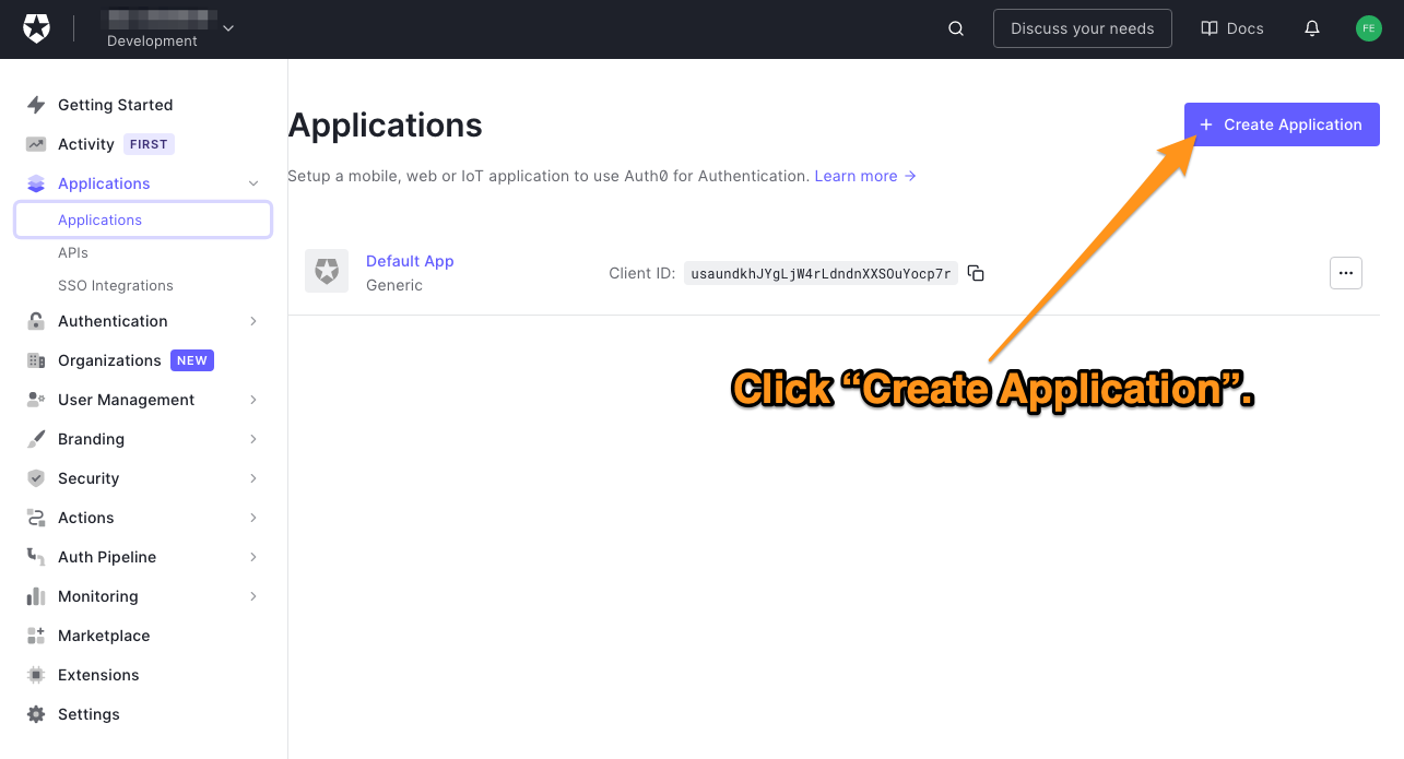 """The main page of the Auth0 dashboard's """"Applications"""" page. The reader is directed to click the """"Create Application"""" button."""