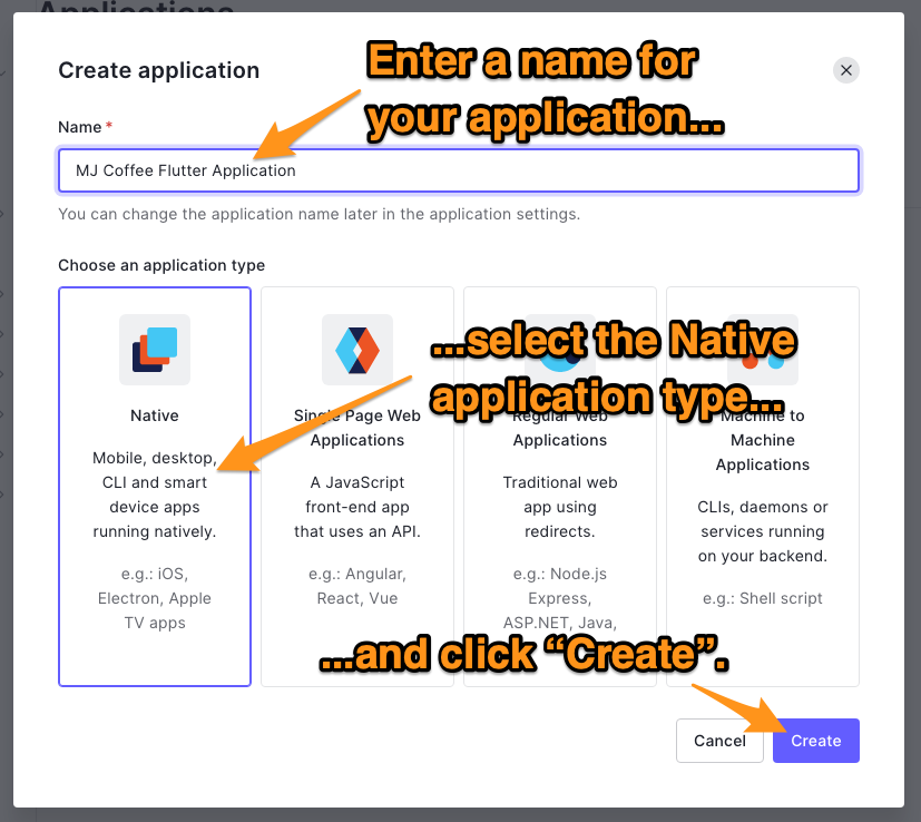 """The """"Create Application"""" dialog. The reader is directed to enter a name for the application, select the """"Native"""" application type, and click the """"Create"""" button."""