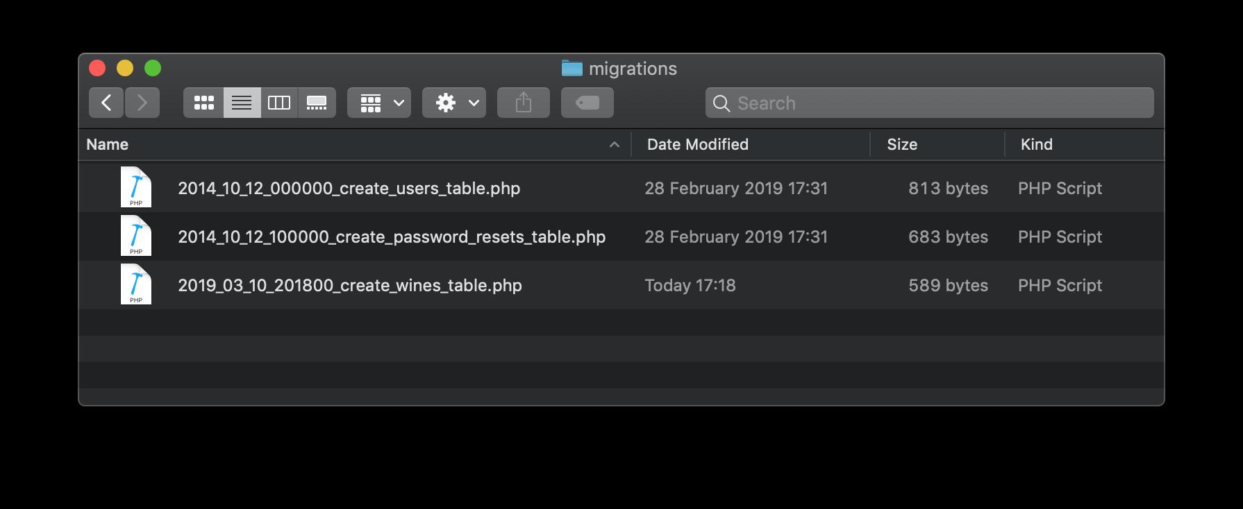 Laravel migration scripts.