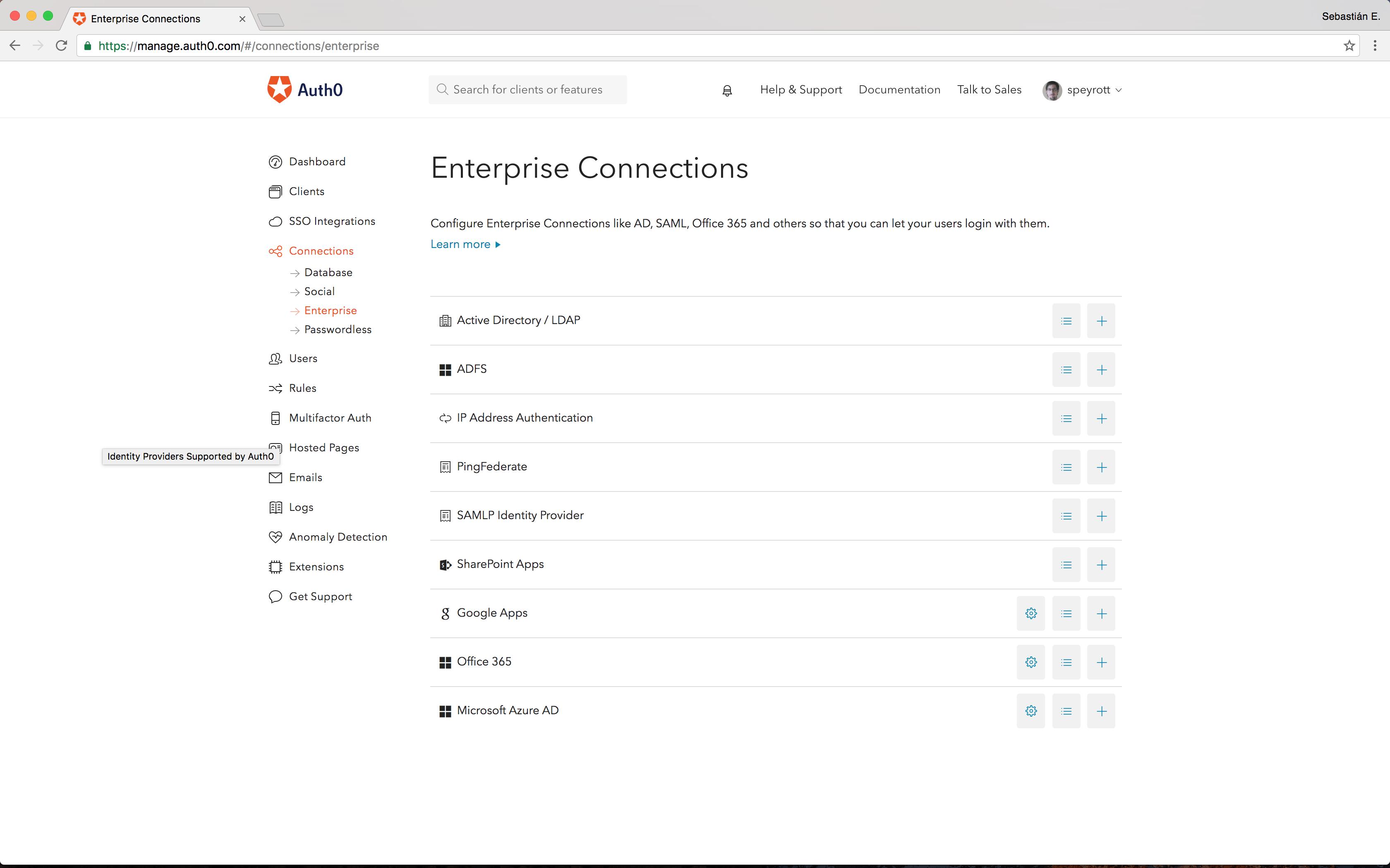 Auth0 enterprise connections