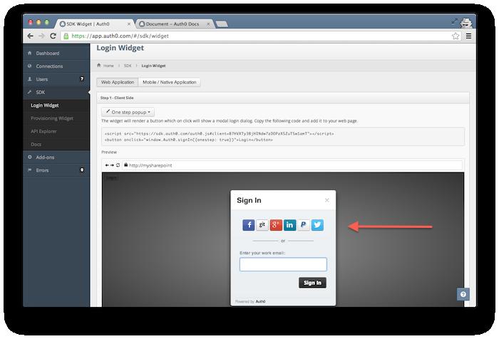 SSO social login widget