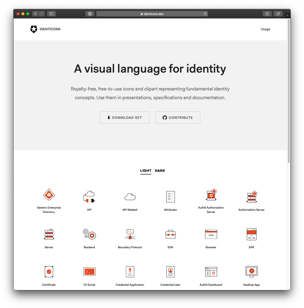 An image of identicons.dev home page