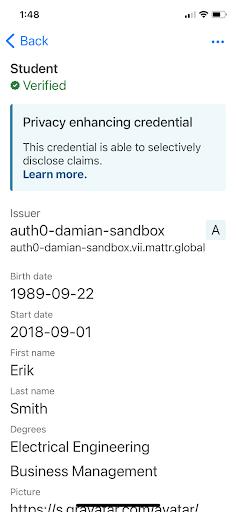 Credential details