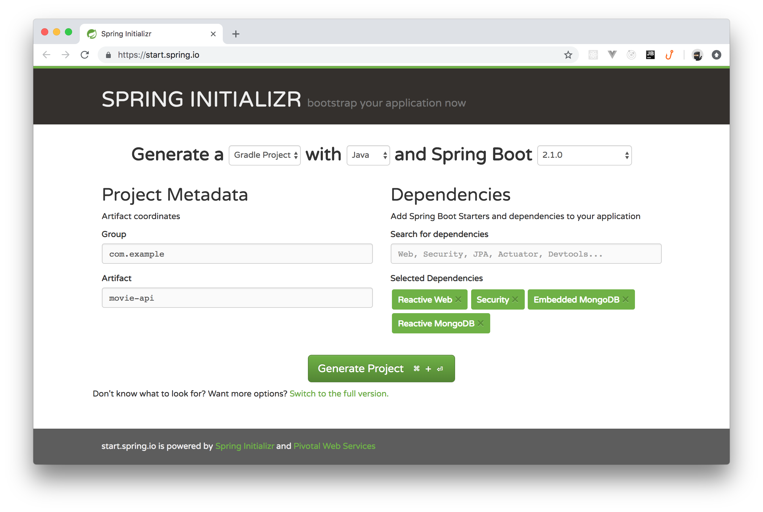 Generating Spring Boot project with Spring Initializr
