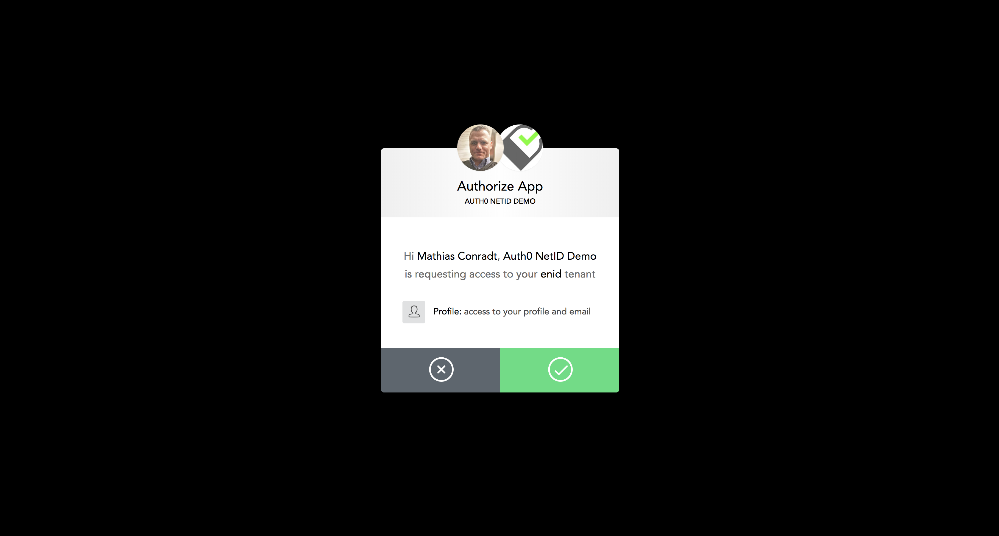 The Auth0 consent screen