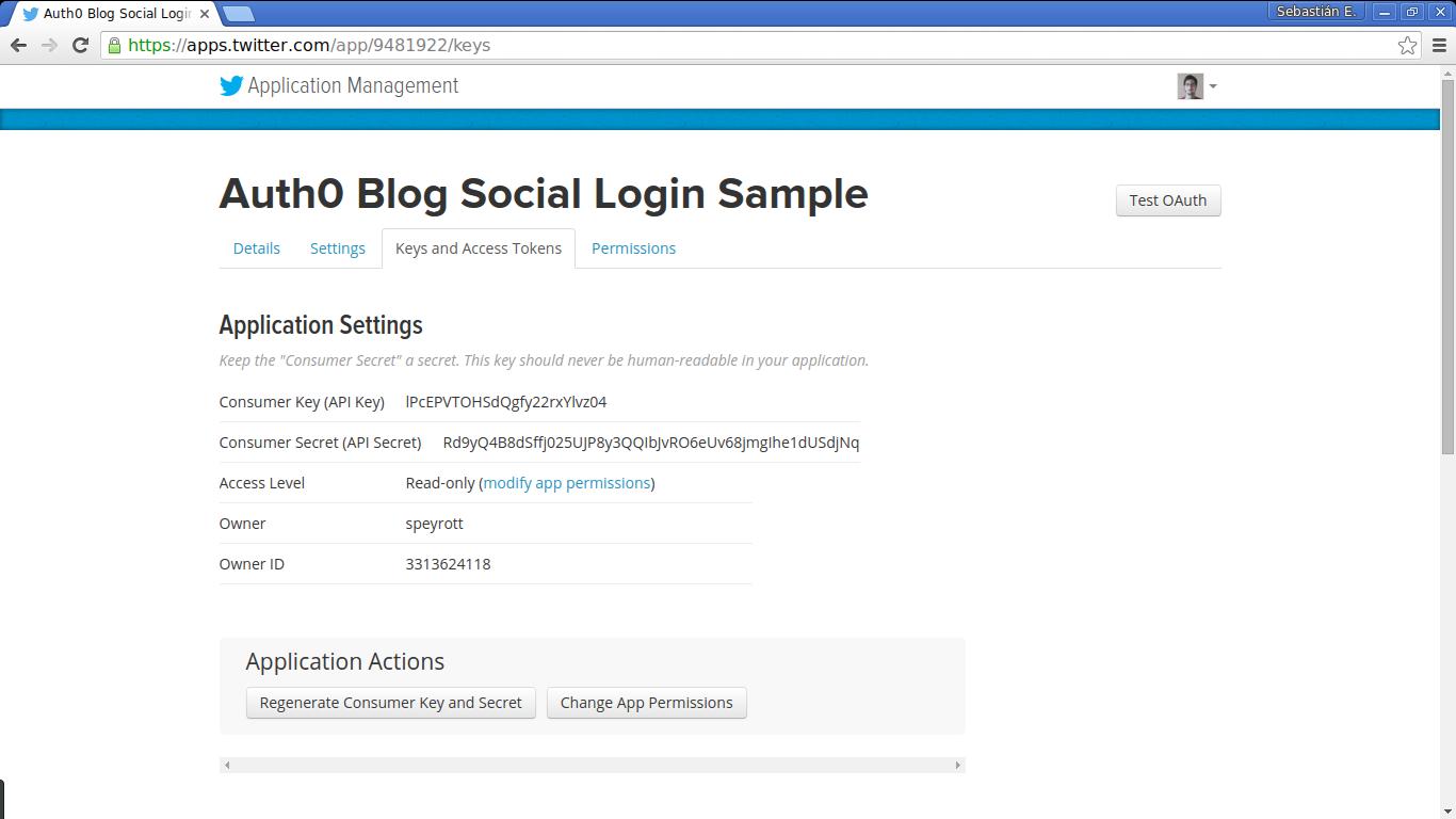 Twitter application management screen