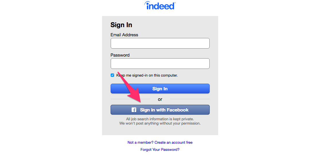 Social Login with Indeed