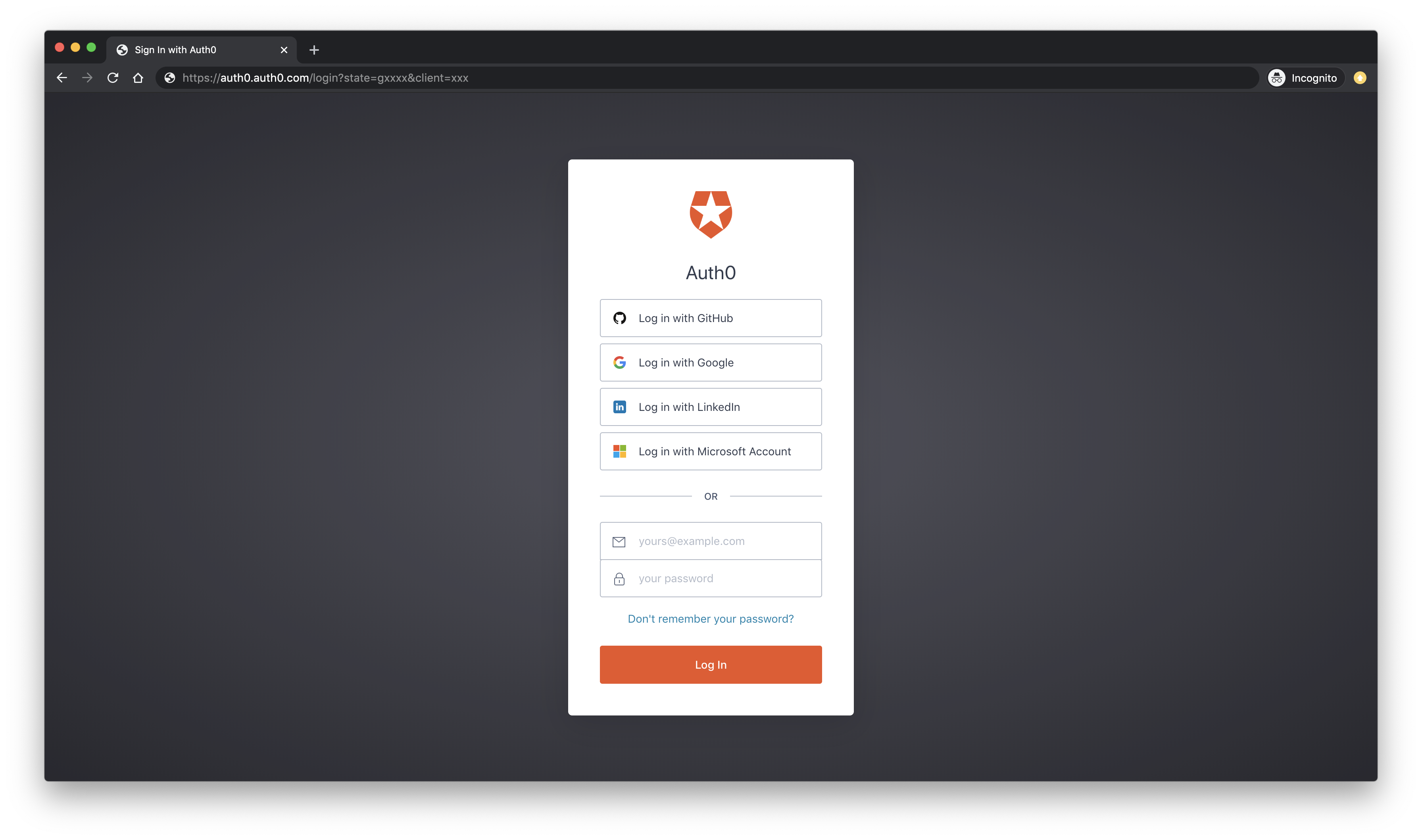 Auth0 secure login form