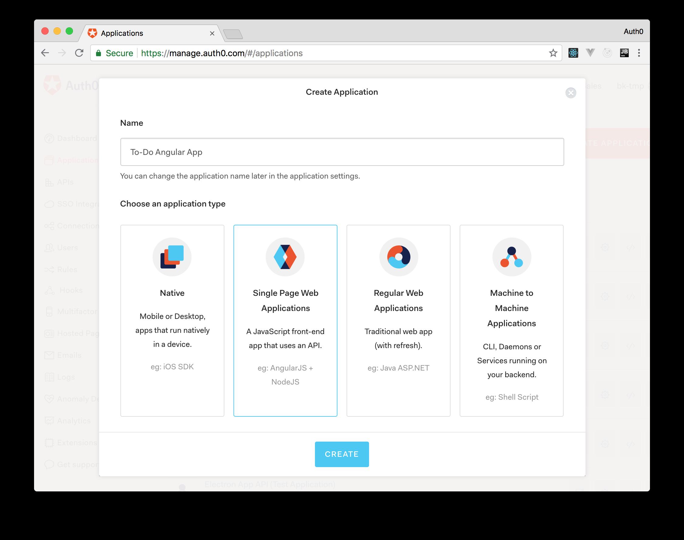 Creating an Auth0 application for an Angular app.