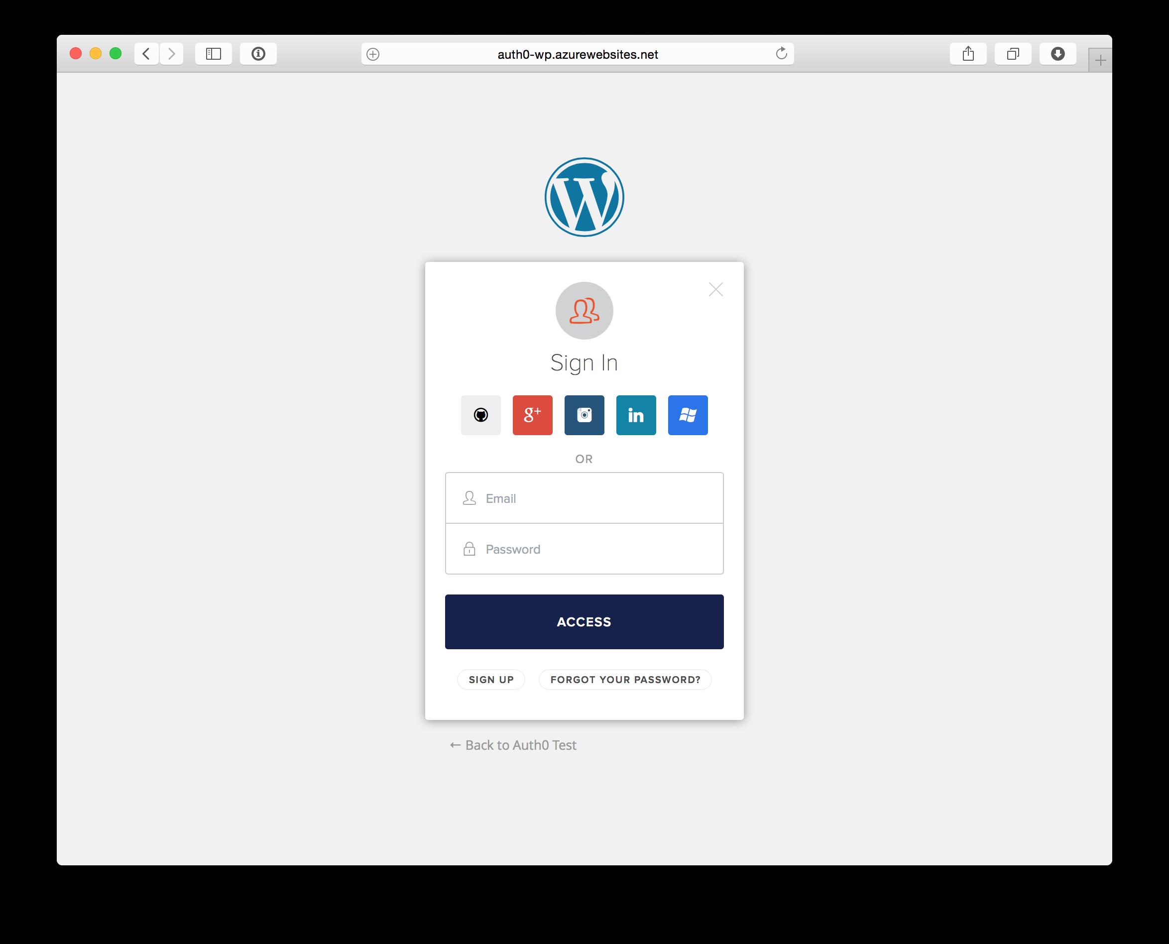 Log into a Wordpress site using social login provider