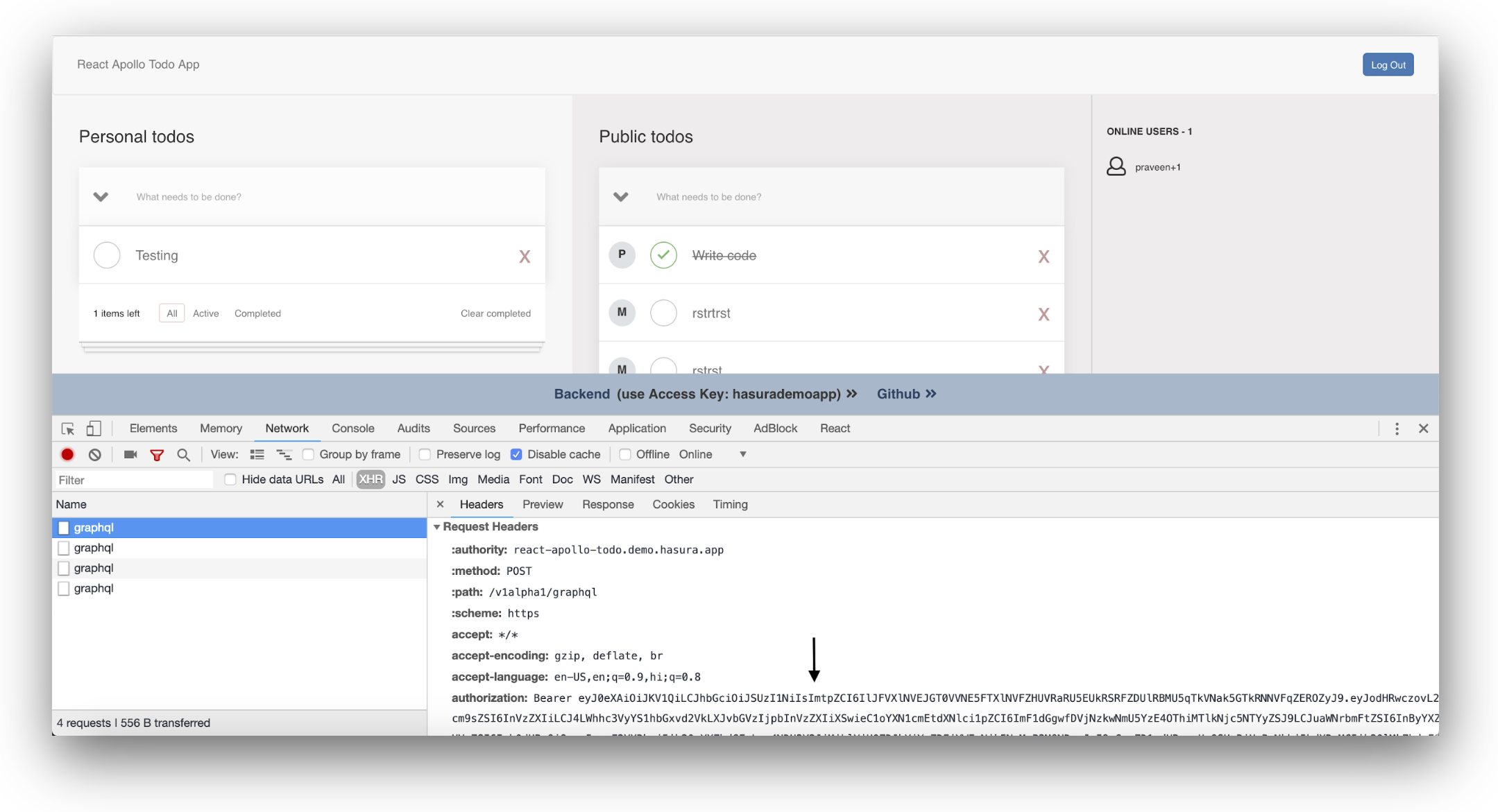 Inspecting the JWT authorization bearer using browser development tools